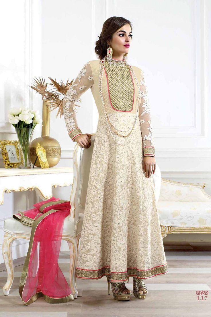 Look Extremely Beautiful On This Eid Event With Off White Faux Georgette Anarkali Suit Shop now @ http://zohraa.com/off-white-faux-georgette-anarkali-z2181p137-82.html SKU: Z2181P137-98 Rs. 4,299/-