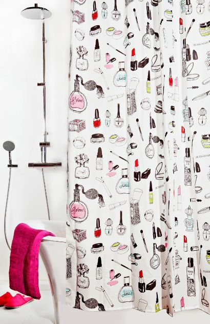 makeup mascara shower curtain lash addict pinterest. Black Bedroom Furniture Sets. Home Design Ideas