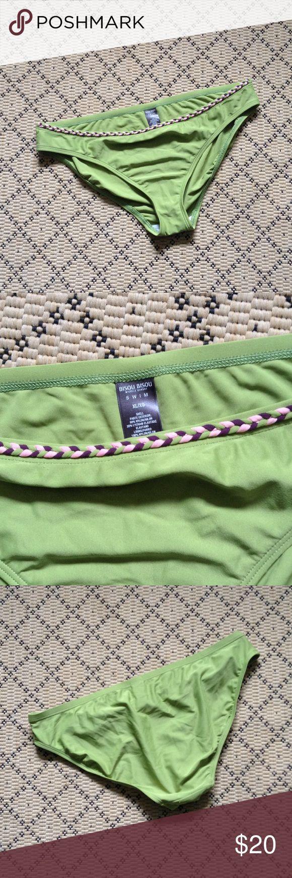 🆕☀️ Apple Green Bikini Bottom 🏖🍏 BRAND NEW! Pretty Apple Green with Pink, Brown, and Green Braided Waist Detail. Full Bottom Coverage. Bisou Bisou Brand Size XL Bisou Bisou Swim