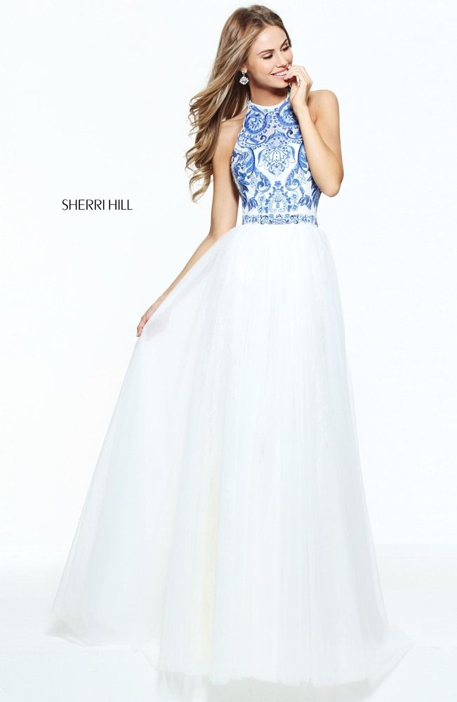Blue and Ivory embroidered a-line gown with a lace and tulle skirt