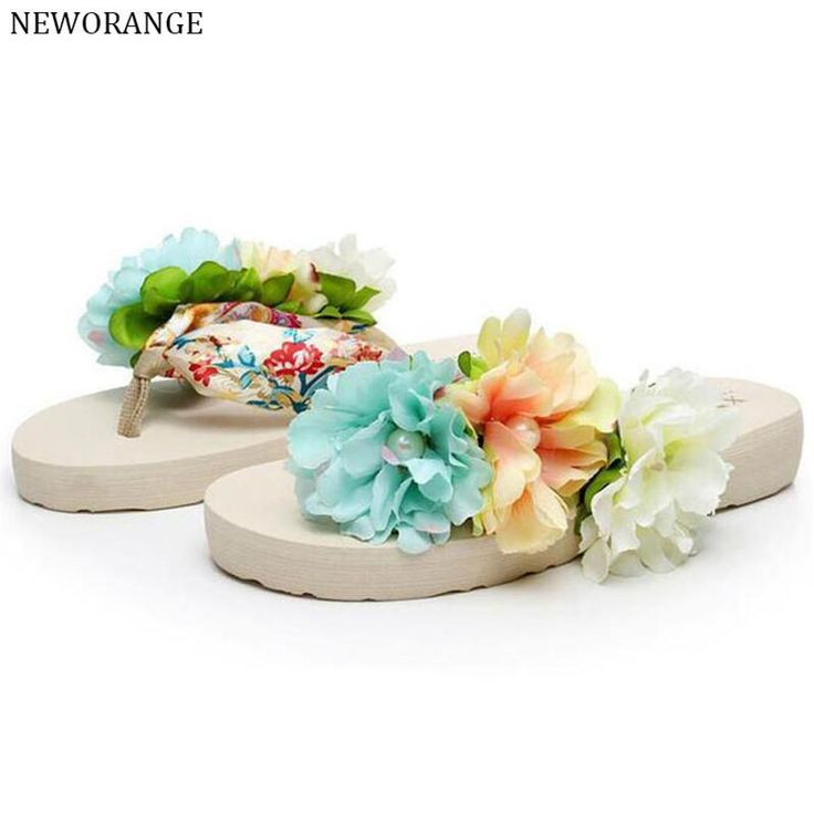 2017 Bohême Fleurs Dames Flip Flops Plage Pantoufles Plate-Forme Des Femmes Sandales Glissent Sur D'été Femmes Chaussures Grande Taille, livraison gratuite