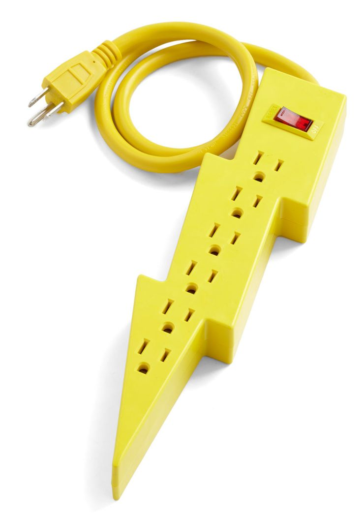 Jason's Super Power Strip by Kikkerland - Yellow, Dorm Decor, Urban, Quirky, Solid, Neon, Top Rated