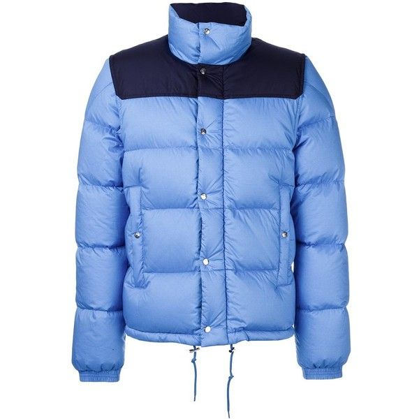 Moncler 'Mistral' padded jacket ($1,275) ❤ liked on Polyvore featuring men's fashion, men's clothing, men's outerwear, men's jackets, blue, mens padded jacket, mens blue jacket, moncler mens jacket and mens zip jacket
