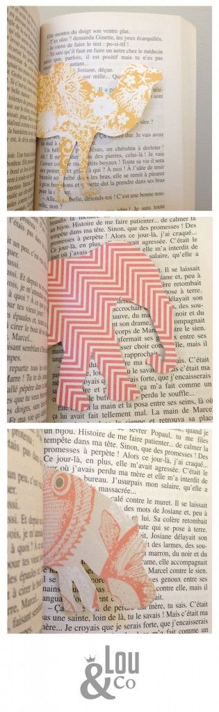 animal-shaped bookmarks from patterned paper or card stock. template linked.