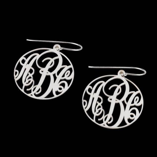 Sterling Silver Monogram Earrings by MissMonogramsTexas on Etsy https://www.etsy.com/listing/184236740/sterling-silver-monogram-earrings
