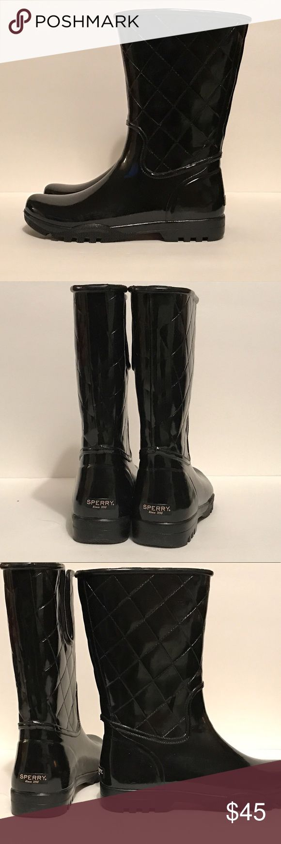 """Sperry Top Sider Black Quilted Rainboots ☔️ Black Quilted Rubber Rainboots ☔️  Make a big splash in the chic Sperry Top-Sider rain boots. Waterproof rubber upper // Inner elastic gore // 11"""" shaft Fabric lining // cushioned insole Rubber// traction outsole Sperry Top-Sider Shoes"""