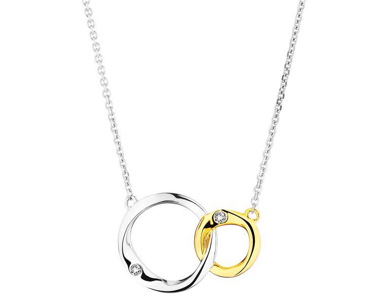 Naszyjnik z białego i żółtego złota z diamentami - wzór 109.672 / Apart
