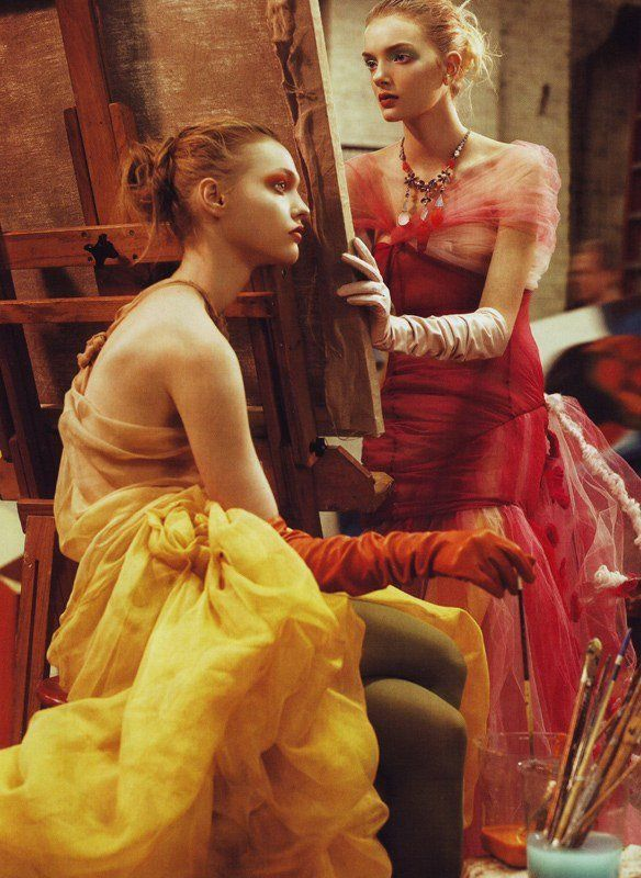 Sasha Pivovarova and Lily Donaldson by Steven Meisel, Vogue US