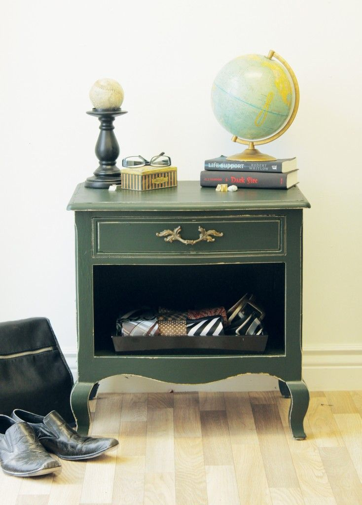 A lovely bedside table makeover for a masculine room