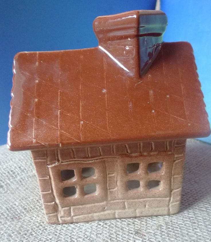 Vintage Pottery Home Decor Brown HOUSE Ceramic Candle Holder Handmade Souvenir