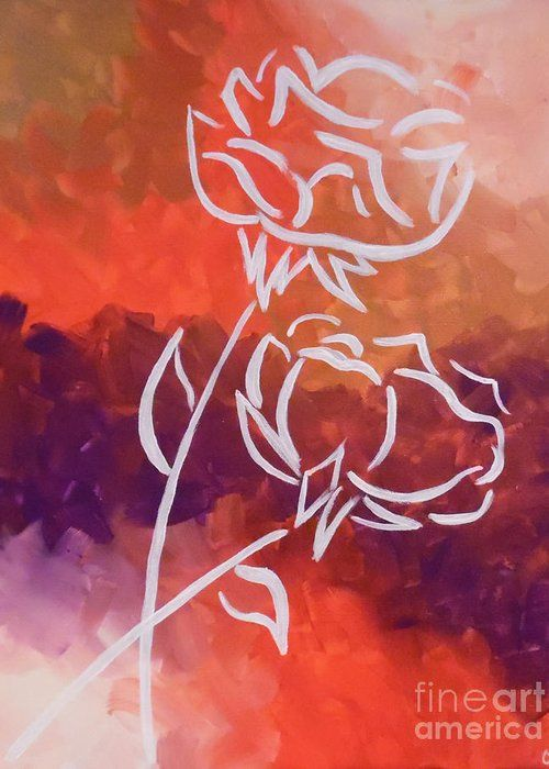 Roses Greeting Card featuring the painting Rosary by Jilian Cramb - AMothersFineArt