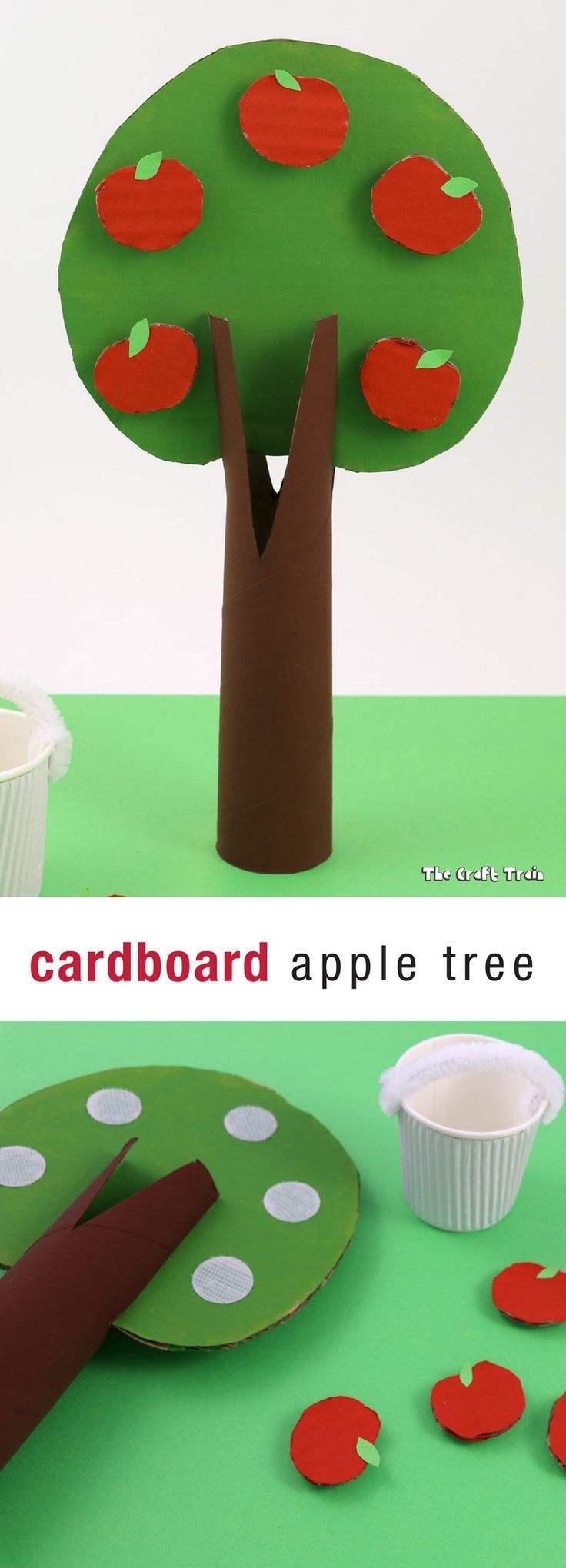 Make a cute cardboard apple tree with apples kids can pick