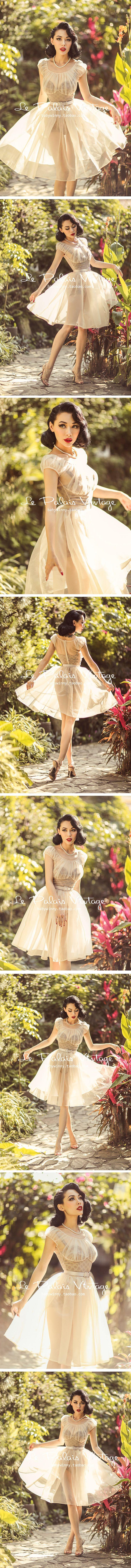 le palais vintage retro elegant limited perspective nude fairy tutu corset suit 0.25-Taobao