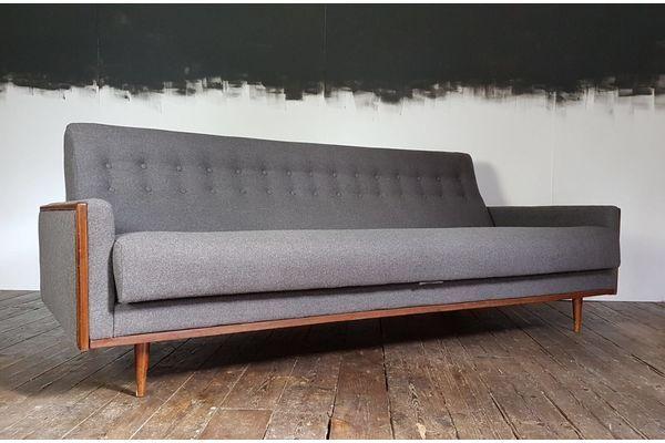 Vtg 60s Mid Century Teak G Plan American E Gomme Sofa Reupholstered Grey Wool | vinterior.co