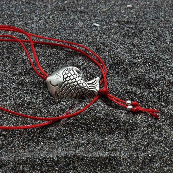 Fish Necklace Long Red Thread Necklace Sterling by AllAboutSeas