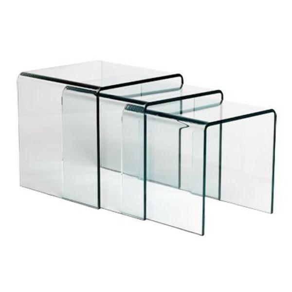 table gigogne en verre transparent