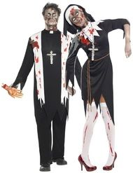 Couples Zombie Priest & Nun Fancy Dress Costumes