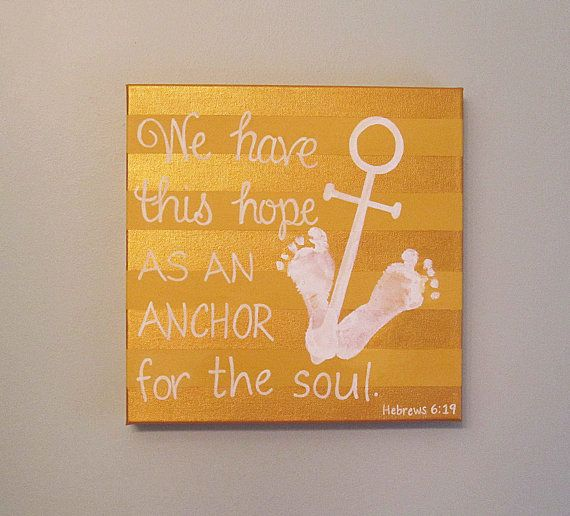 Nautical Anchor Footprint Canvas Art And Print Kit Stripe Any Color Hebrews 6