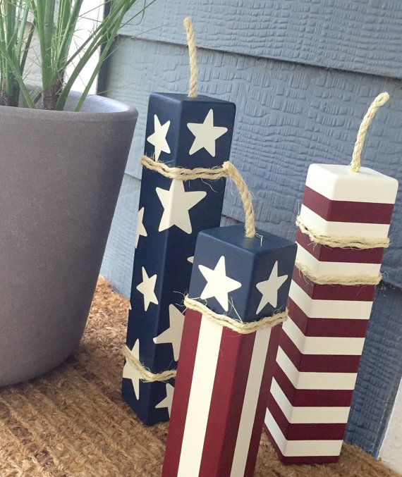 Patriotic Firecrackers Set Of 3 Large Wood By