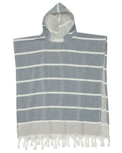 KIDS SHELLY PONCHO - NAVY 50% Cotton / 50% Bamboo White stripes on Navy ground with Grey edges
