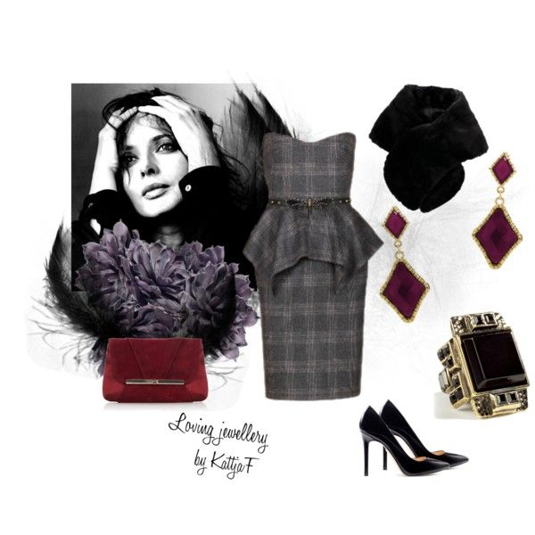 """""""Earrings and ring in black and burgundy"""" by kattjaf on Polyvore"""
