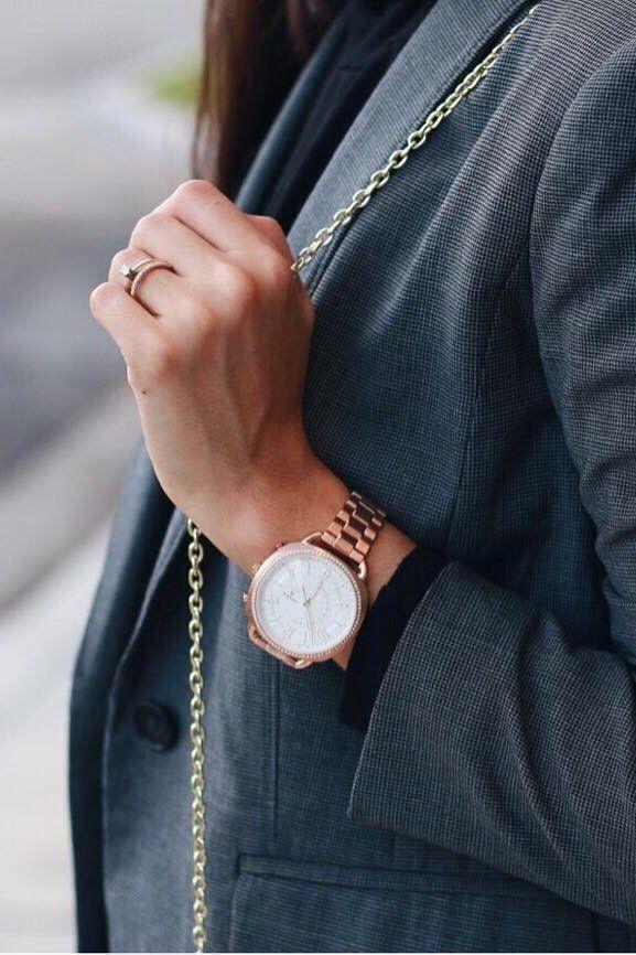 df0fdad75 A classic blazer + our Q Accomplice rose gold glitz hybrid smartwatch. via  @ mimundorebelde