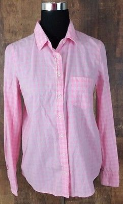 J Crew Boy Size 8 Pink and White Plaid Check Button Down Casual Shirt Blouse