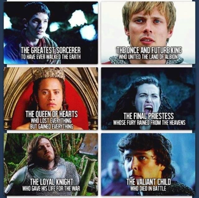 Merlin Characters (merlin, arthur, gwen, morgana, gwaine and mordred) - I don't agree with the Mordred one because he killed Arthur and stuff