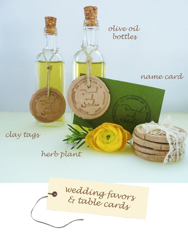 Olive oil favors--Olive oil bottles and clay name tags