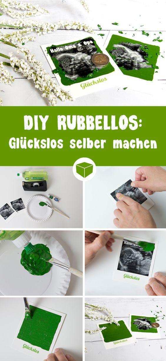 DIY Rubbelos - So einfach kannst du ein Los zum rubbeln selber machen. Alles was Du dazu brauchst, ist etwas Acrylfarbe, Fit, Klebeband oder Klebefolie, Pinsel und ein Retro Bild als Rubbellos. Misch die Farbe mit dem Spüli und klebe die spätere Rubbelfläche gut ab. Anschließend kannst Du die Farbe auftragen und trocknen lassen. #schwangerschaft verkünden #rubbellos #glückslos #kreativ #diy #bastelidee