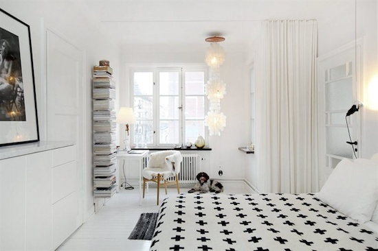 All white bedroom.  Love the Pia Wallén blanket.