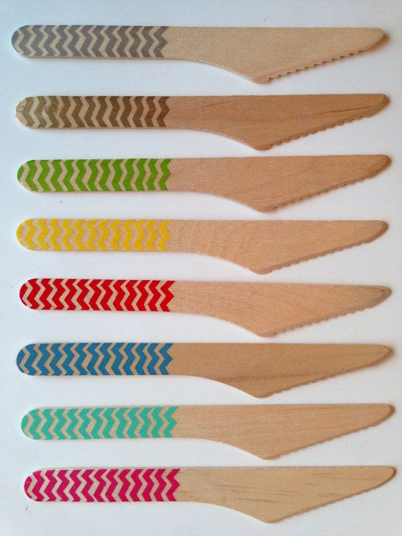 Wooden Party Knives with Chevron - PICK YOUR COLORS - 8 Colors (set of 12) / Birthday Decoration / Sweet Table Decor / Bbq utencils on Etsy, $8.29 CAD