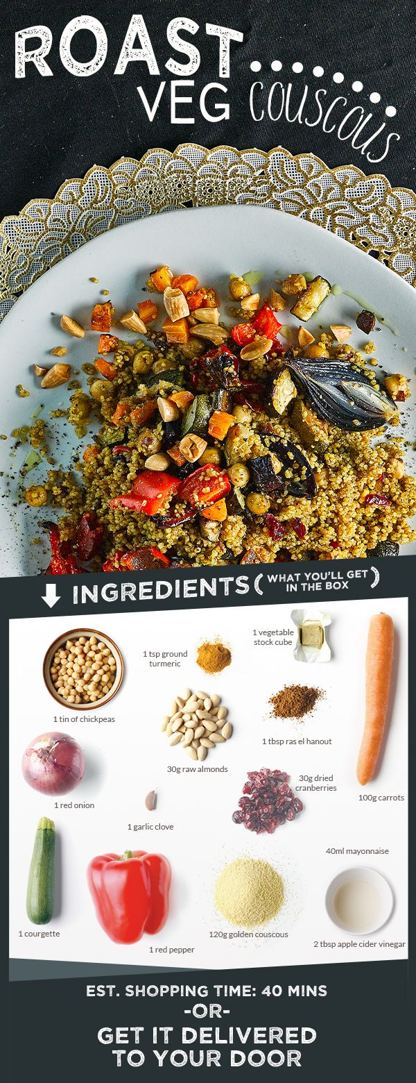 A lovely tumble of roast vegetable and chickpea couscous spiced with turmeric and ras el hanout, and studded with roasted almonds and cranberries. Vegetable couscous is a staple in Morocco, but so often it's bland and flavourless. This recipe changes that - and it's even vegan!