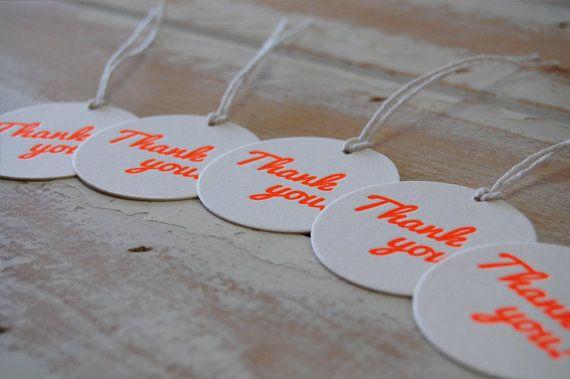 Thank You Neon Orange Letterpress Swing Tags 1  by LittlePeachCo, $10.00
