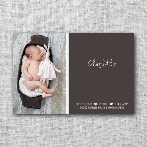 Modern Baby Announcement Card Photo Modern Pink Girl Beautiful- Printable, Digital