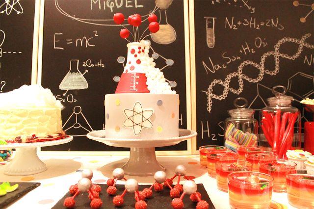 Bolo festa ciência, moléculas doces festa ciência
