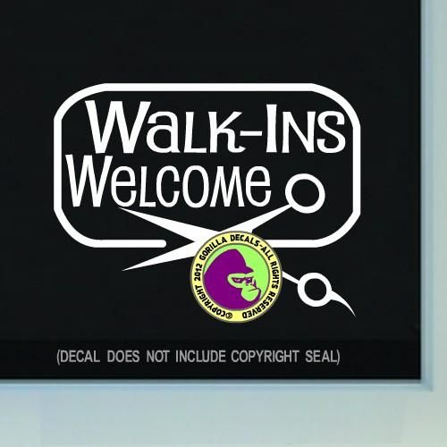 FRAMED WALK-INS WELCOME Hair Shears Vinyl Decal Sticker