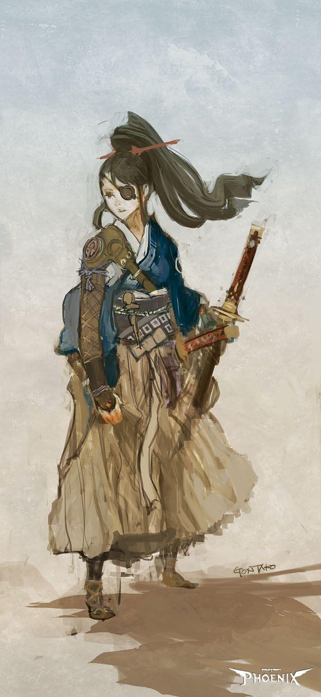 Steampunk Samurai. Design concept. Character art.
