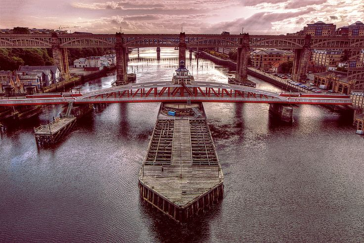 Swing Bridge with a Red Hue