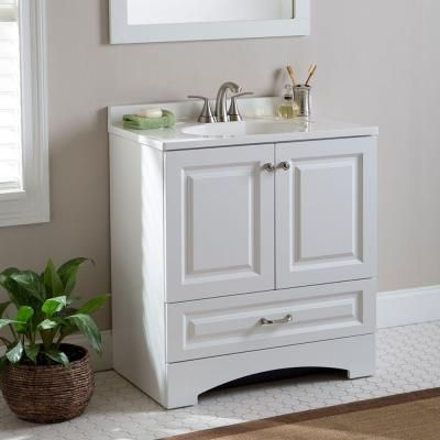 Lancaster 30 In Vanity In White With Alpine Vanity Top In