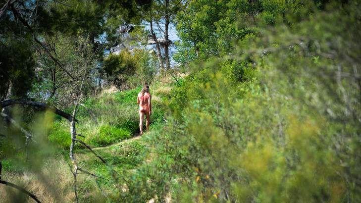 Navigating the nudists at Kambah Pool.