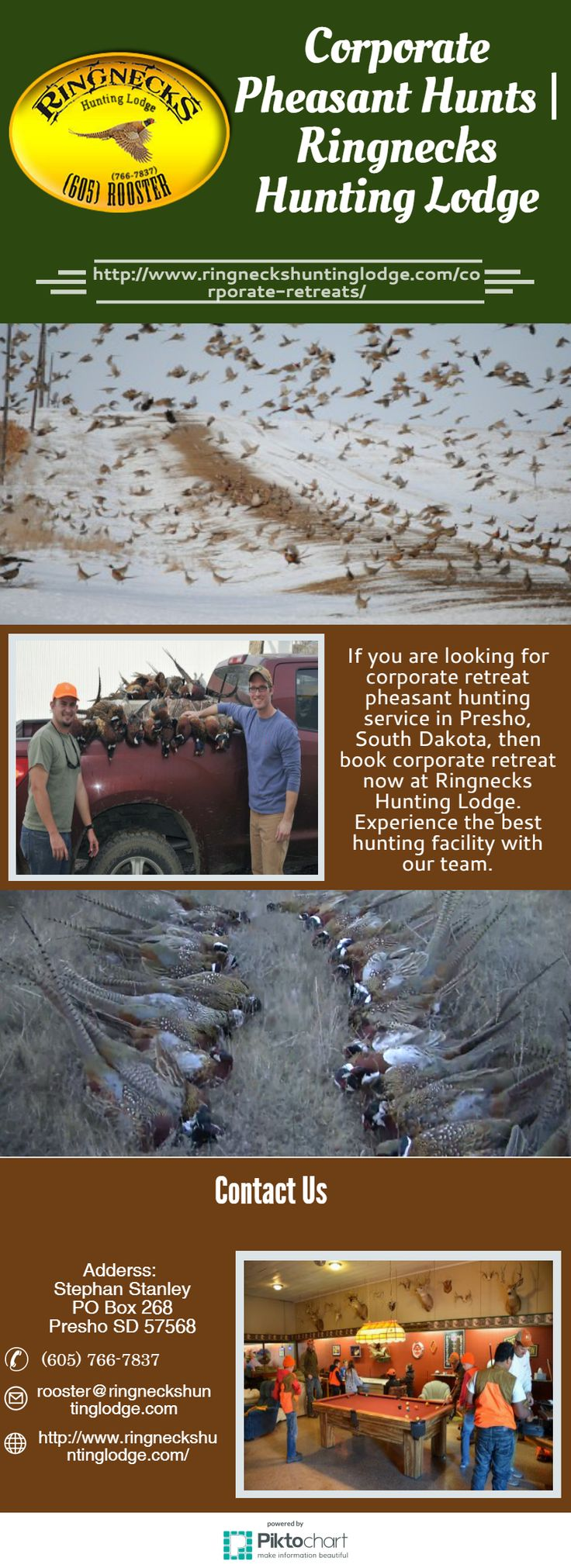 If you are looking for corporate retreat pheasant hunting service in Presho, South Dakota, then book corporate retreat now at Ringnecks Hunting Lodge. Experience the best hunting facility with our team. Visit at https://magic.piktochart.com/output/22097795-corporate-pheasant-hunts-ringnecks-hunting-lodge