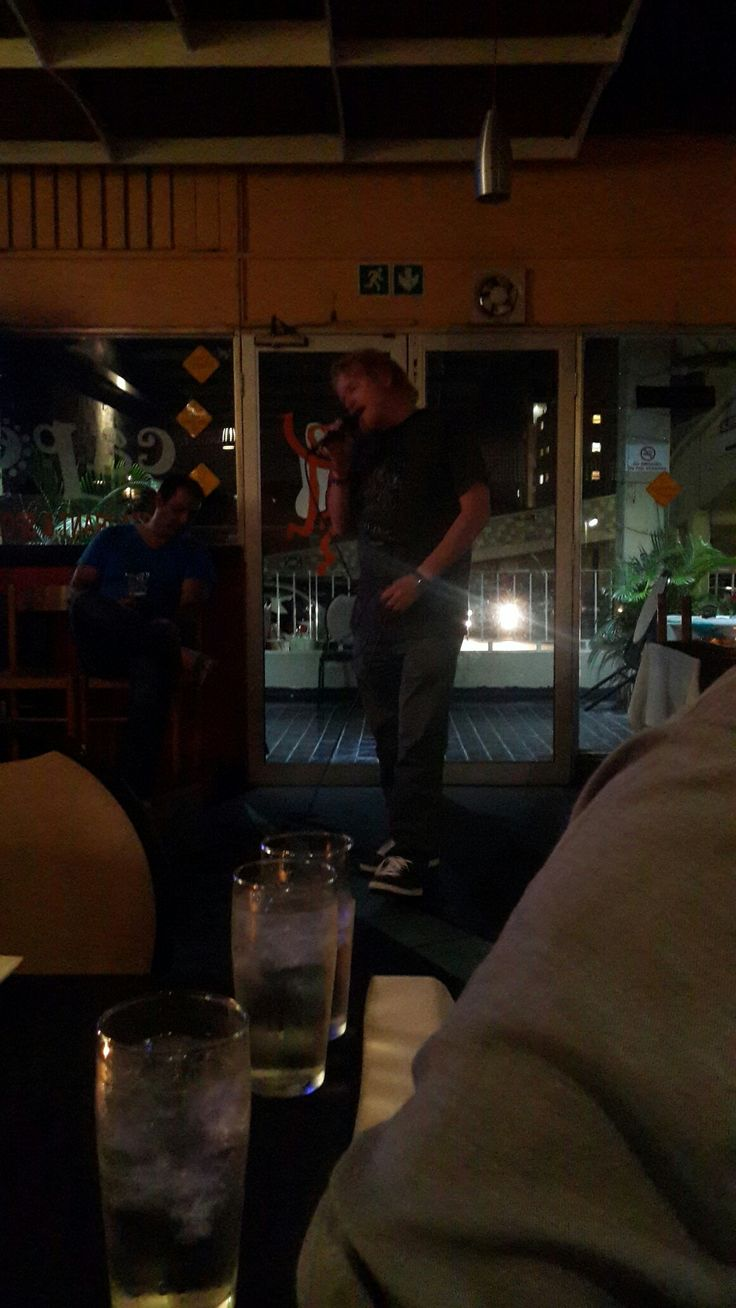 Karaoke at Cappers bar. This guy totally killed it up there!!