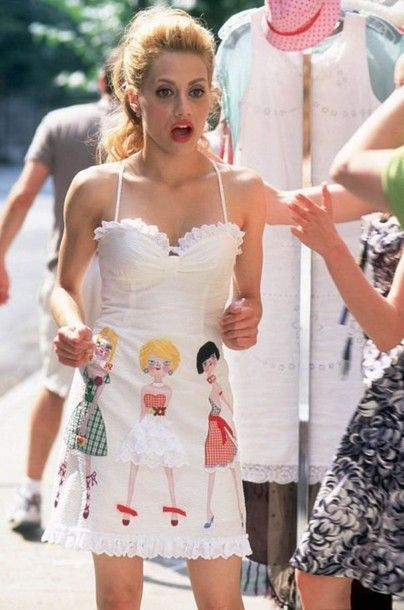 dress brittany murphy fashion uptown girls film molly gunn summer dress summer outfits white dress short dress embroidery ruffle