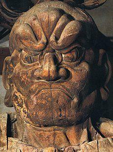 Ungyo (Ungyō) 吽形 H. 842.3 cm  Kongo (Kongō) Rikishi 金剛力士  Wood with Paint (Saishiki 彩色)  By Unkei & Kaikei, Dated +1203  Todaiji (Tōdaiji) Temple 東大寺