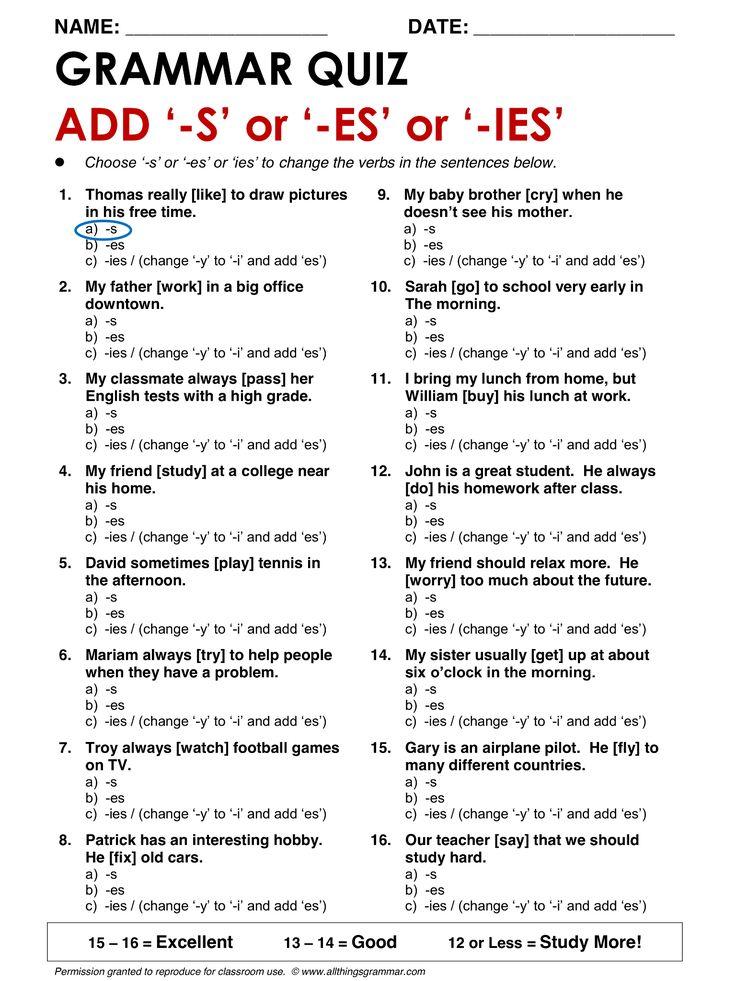 Grammar essay test