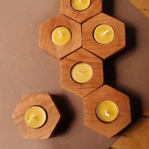 modular chemistry candle holders (set of 9) - handcrafted of native cherry wood