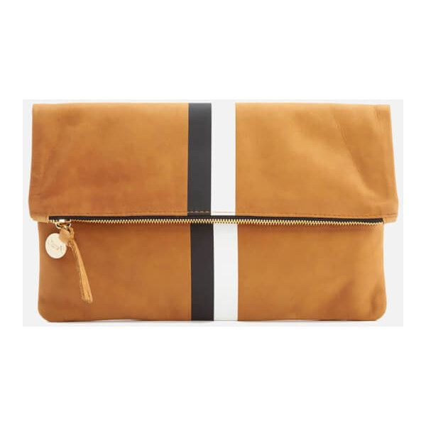 Clare V. Women's Foldover Clutch Bag - Camel Nubuck with Black & White... ($135) ❤ liked on Polyvore featuring bags, handbags, clutches, black white handbag, white and black purse, black and white stripe purse, fold over handbag and black and white striped purse