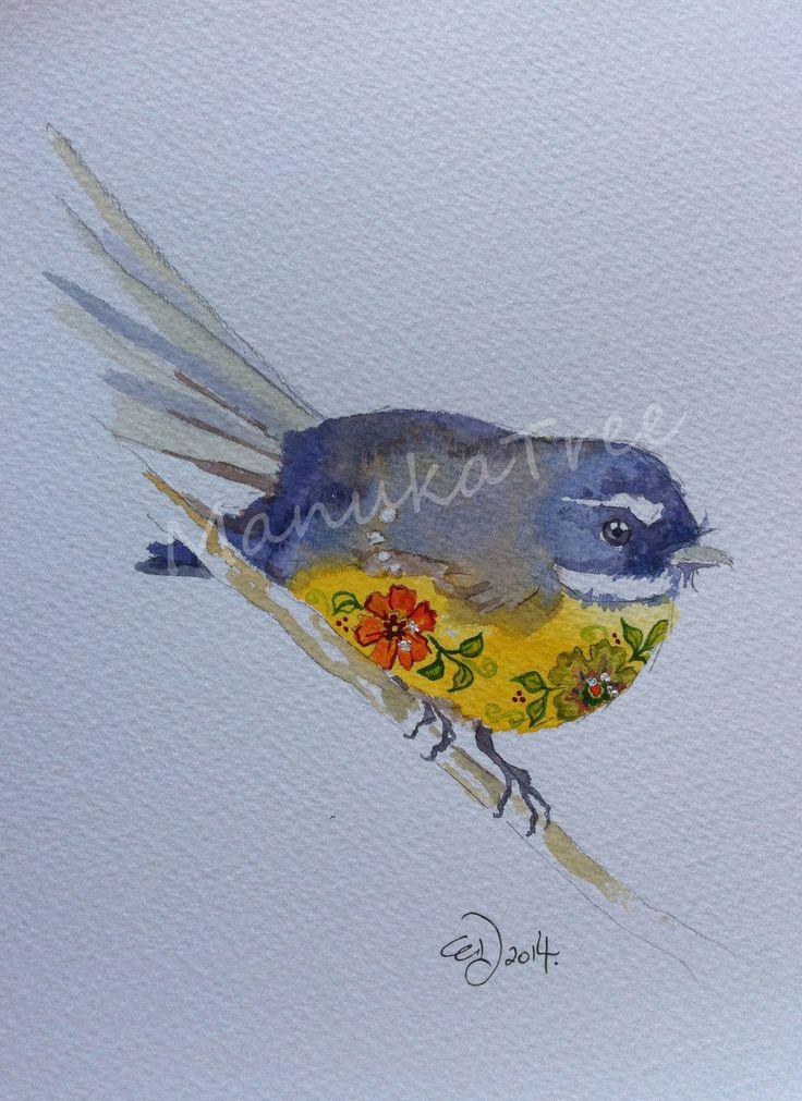 Pīwakawaka - NZ native fantail  http://felt.co.nz/listing/225162/Original-watercolour---Elizabeth-Dodd