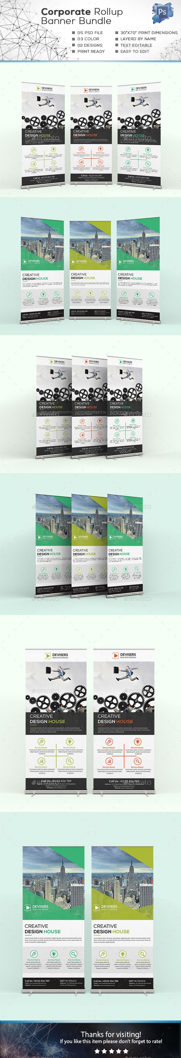 Corporate Roll-up Banner Design Bundle - Signage Print Template PSD. Download he...